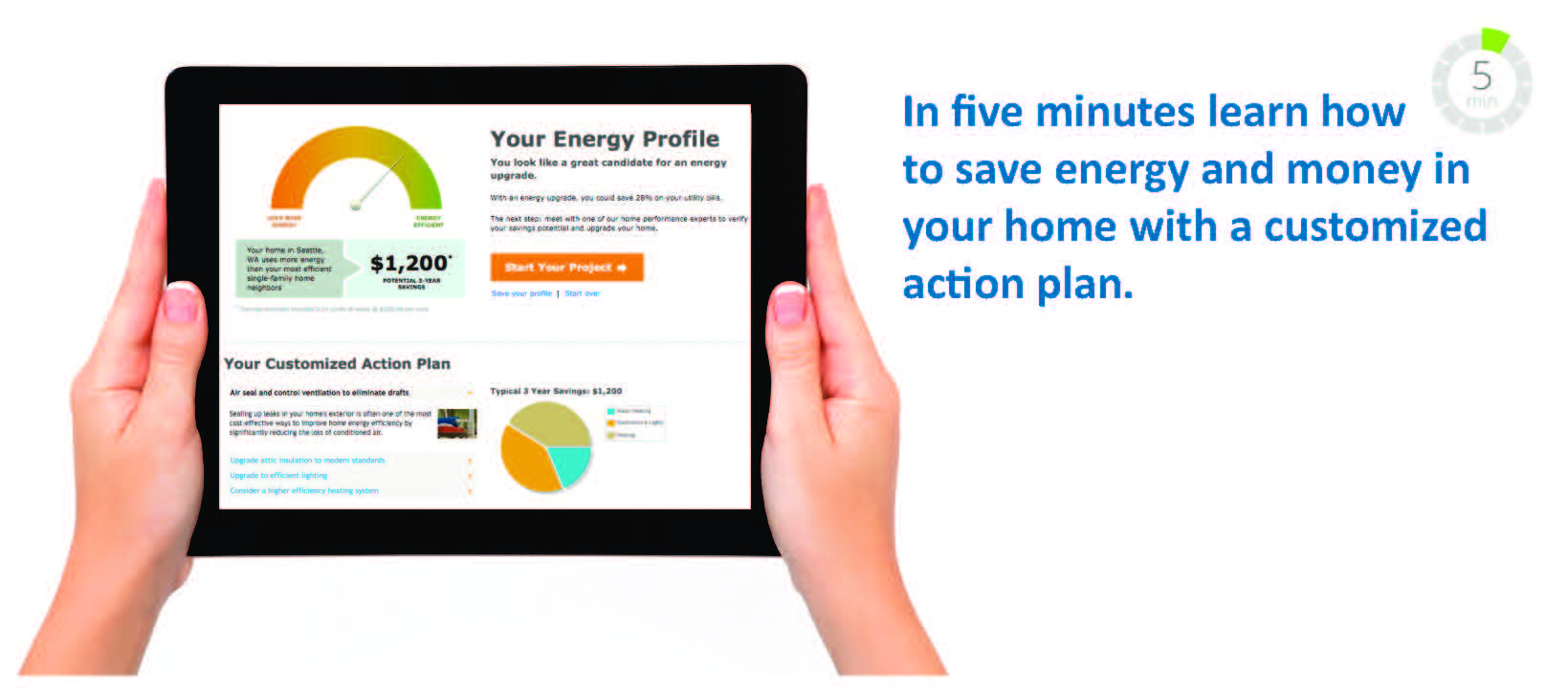 Learn how to save energy and money in your home in five minutes with a customized action plan